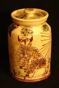 redware jar by Pied Potter Hamelin