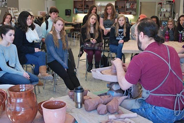 Longmeadow High School pottery demonstration
